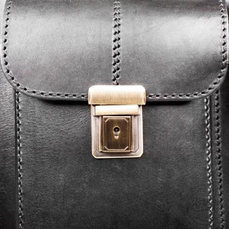"""Кожаный портфель-кофр ручной работы """"Сордо"""" (чёрный) - 7"""
