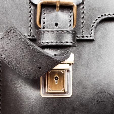 """Кожаный портфель-кофр ручной работы """"Сордо"""" (чёрный) - 6"""