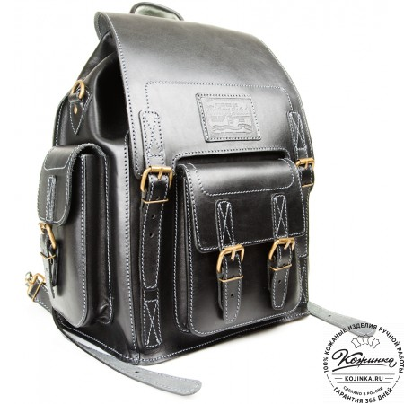 """Кожаный рюкзак """"Кэмэл"""" (чёрный) - 15"""