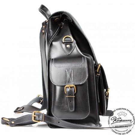 """Кожаный рюкзак """"Кэмэл"""" (чёрный)"""