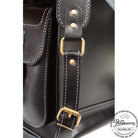 """Кожаный рюкзак """"Кэмэл"""" (чёрный) - 14"""