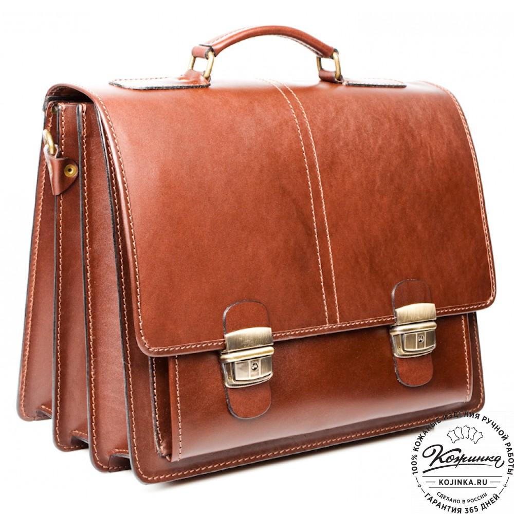 """Кожаный деловой портфель """"Адвокат-2"""" (коричневый)"""