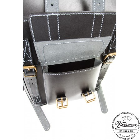 """Кожаный рюкзак """"Кэмэл"""" (чёрный) - 12"""
