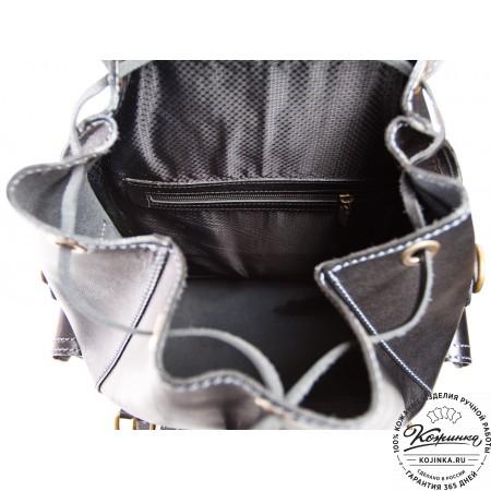 """Кожаный рюкзак """"Кэмэл"""" (чёрный) - 9"""