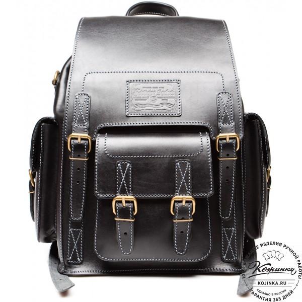 """Кожаный рюкзак """"Кэмэл"""" (чёрный). фото 1"""