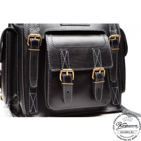 """Кожаный рюкзак """"Кэмэл"""" (чёрный) - 8"""