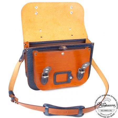 """Кожаный портфель """"Сатчел""""  (коричнево-синий)"""