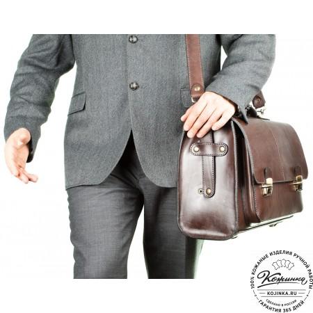"""Кожаный портфель ручной работы """"Прометей"""" (коричневый)"""