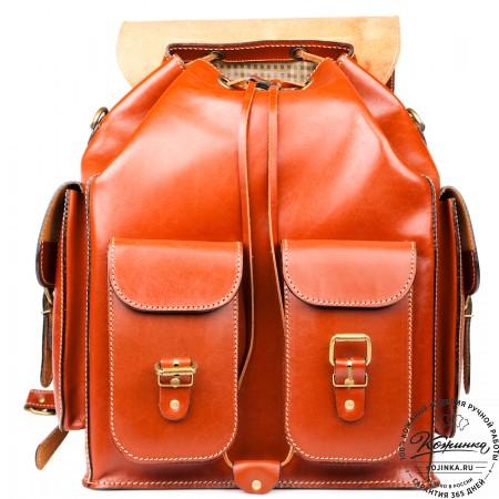 """Кожаный рюкзак """"Пехотинец"""" (Рыжий)"""