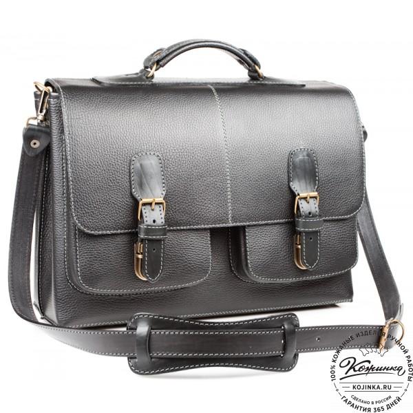 """Кожаный портфель ручной работы """"Рональд II"""" (чёрный). фото 1"""
