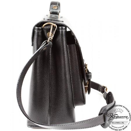 """Кожаный портфель ручной работы """"Рональд II"""" (чёрный)"""