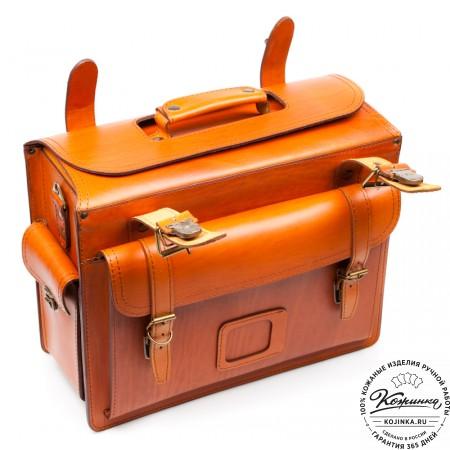 """Кожаный портфель-Кофр  """"Универсал""""  (рыжий)"""