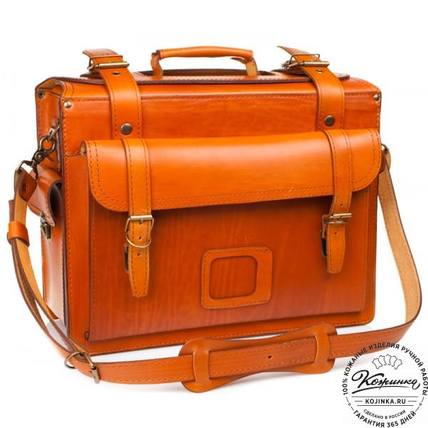 """Кожаный портфель-Кофр  """"Универсал""""  (рыжий). фото 1"""