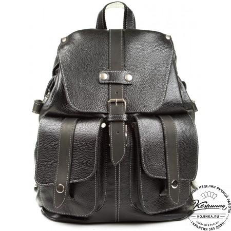 """Кожаный рюкзак ручной работы """"Эверест"""" (черный) - 10"""