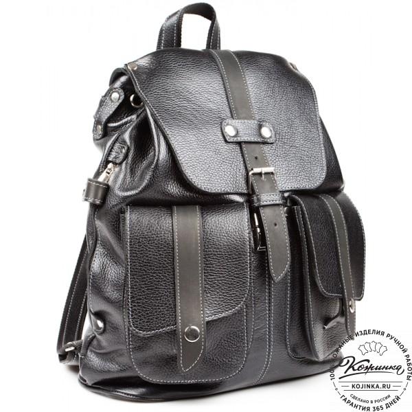 """Кожаный рюкзак ручной работы """"Эверест"""" (черный). фото 1"""