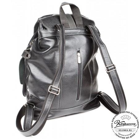 """Кожаный рюкзак ручной работы """"Эверест"""" (черный) - 9"""