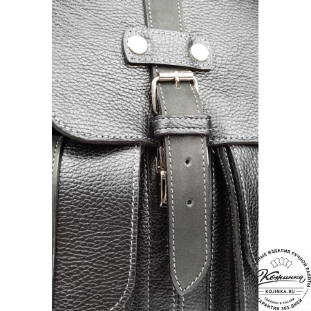 """Кожаный рюкзак ручной работы """"Эверест"""" (черный) - 8"""