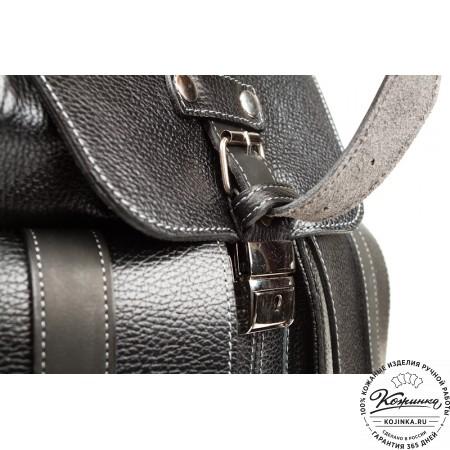 """Кожаный рюкзак ручной работы """"Эверест"""" (черный) - 7"""
