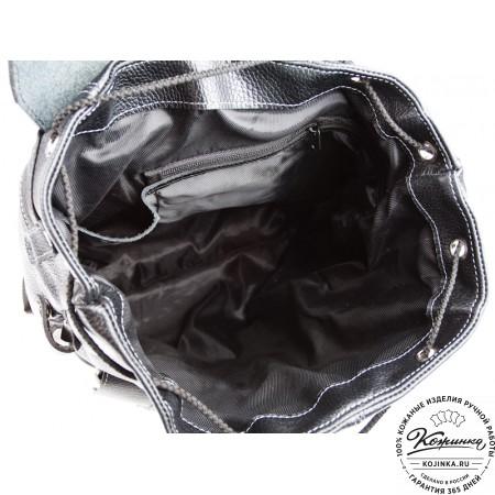 """Кожаный рюкзак ручной работы """"Эверест"""" (черный) - 4"""