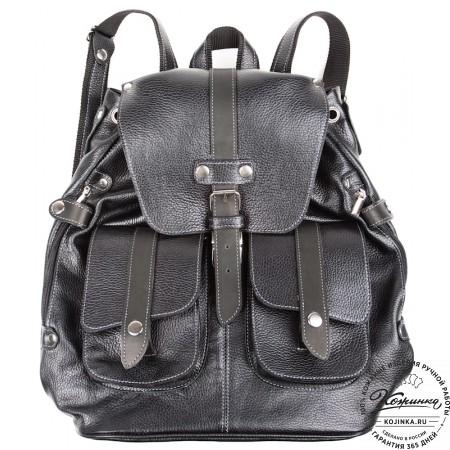 """Кожаный рюкзак ручной работы """"Эверест"""" (черный) - 5"""
