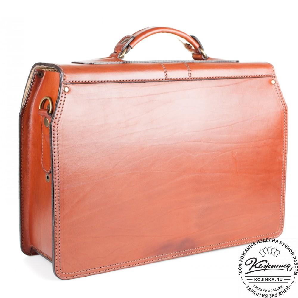 """Кожаный портфель ручной работы """"Фердинанд"""" (тёмно рыжий)"""