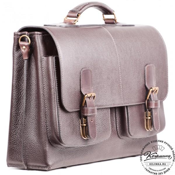"""Кожаный портфель ручной работы """"Рональд II"""" (коричневый). фото 1"""