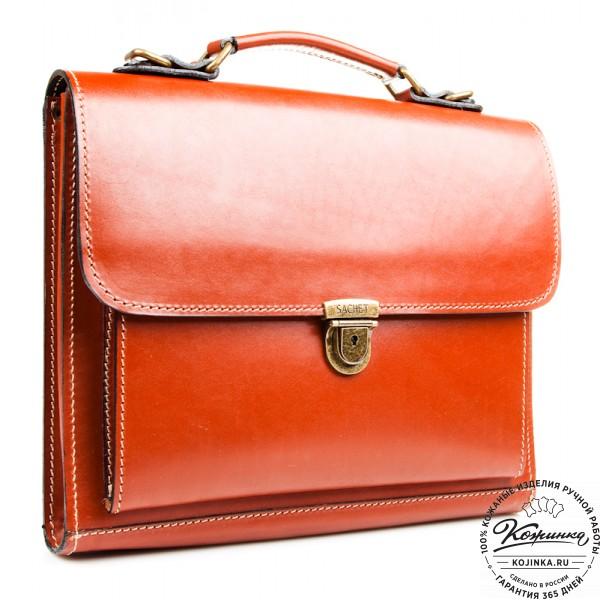 """Деловой кожаный портфель """"Мини"""" (тёмно-рыжий). фото 1"""