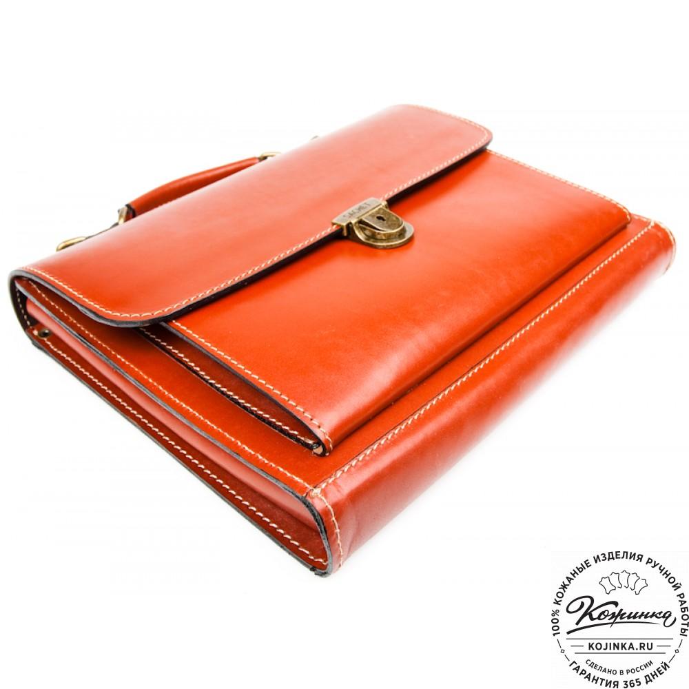 """Деловой кожаный портфель """"Мини"""" (тёмно-рыжий)"""