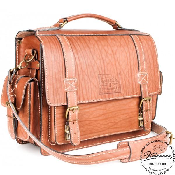 """Кожаный портфель """"Трансформер"""" (коричневый). фото 1"""