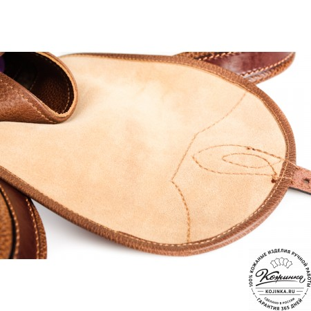 """Кожаный рюкзак """"Мидл"""" (светло-коричневый)"""
