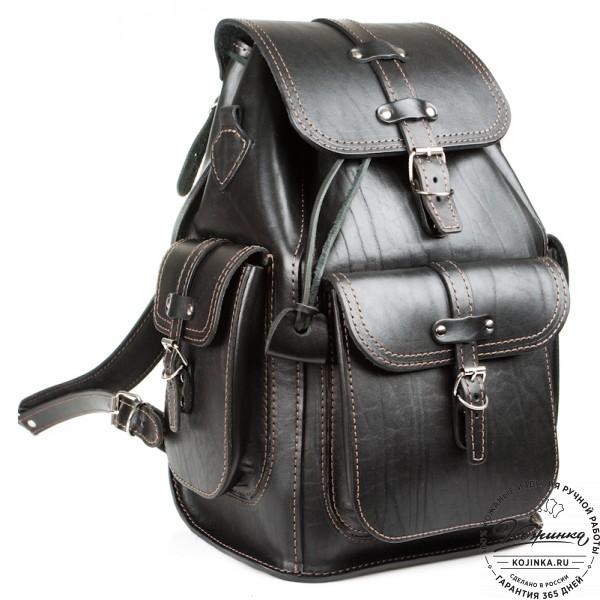 """Кожаный рюкзак """"Патриот"""" (чёрный). фото 1"""