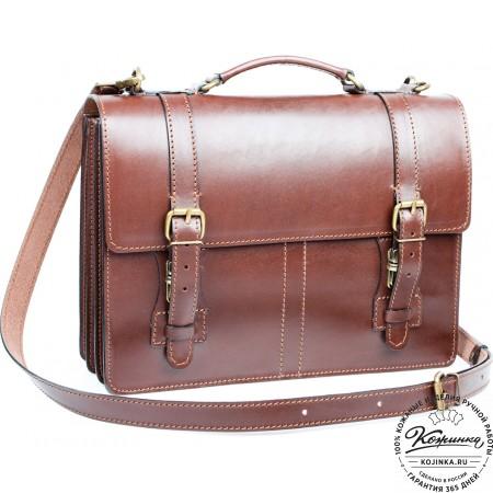 """Деловой кожаный портфель """"Увертюра"""" (коричневый)"""