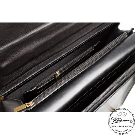 """Кожаный Портфель """"Юзер 15"""" (чёрный)"""
