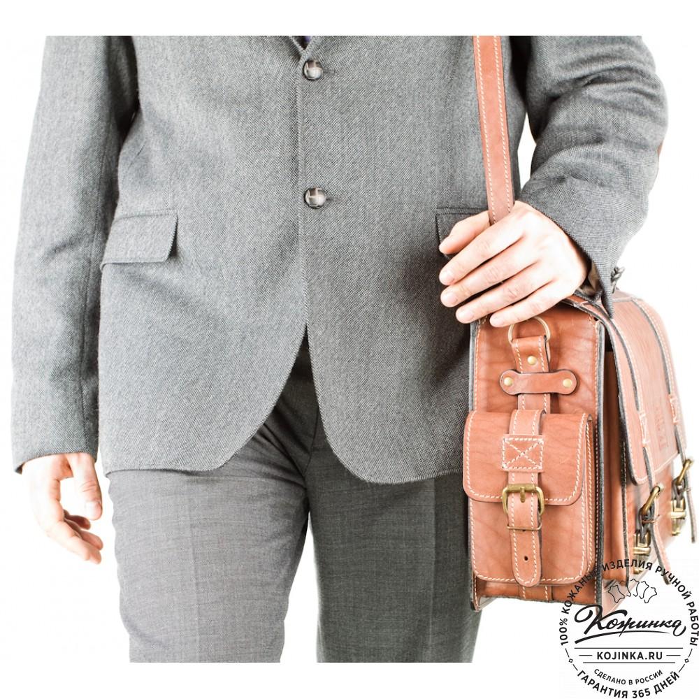 """Кожаный портфель """"Трансформер"""" (коричневый)"""