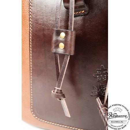 """Женский кожаный рюкзак """"Гейша"""" (коричневый) - 8"""