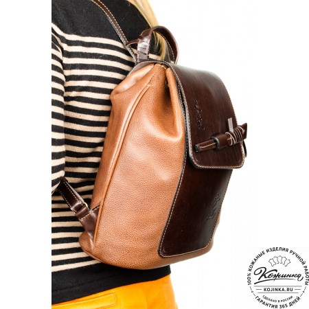 """Женский кожаный рюкзак """"Гейша"""" (коричневый) - 2"""