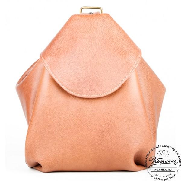 """Кожаный рюкзак-сумка """"Микки"""" (коричневый). фото 1"""