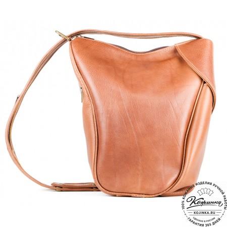 """Кожаный рюкзак-сумка """"Микки"""" (коричневый)"""