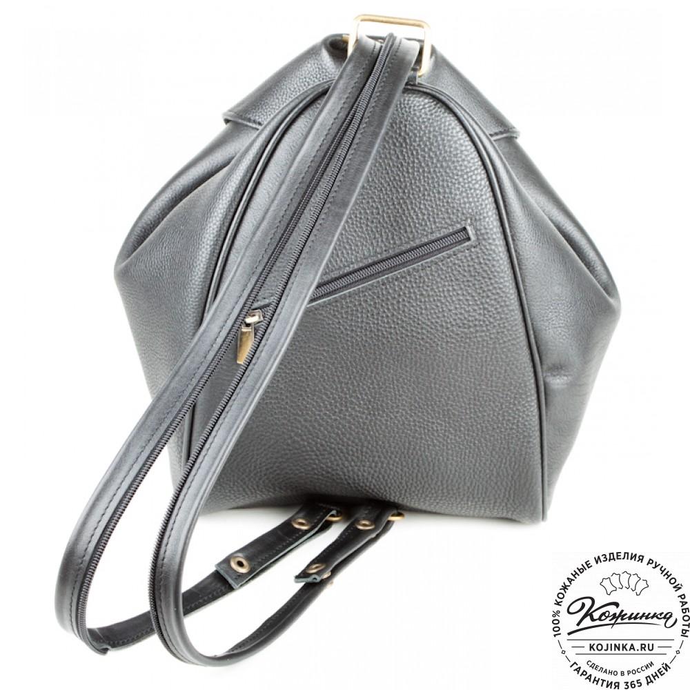 """Кожаный рюкзак-сумка """"Микки"""" (черный)"""