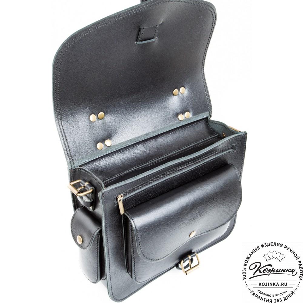 """Кожаная  сумка """"Леонардо"""" (черная)"""