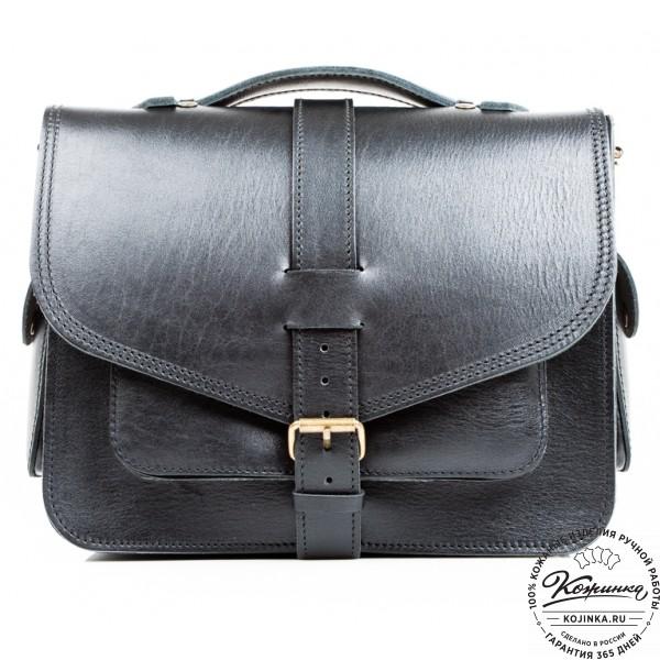 """Кожаная  сумка """"Леонардо"""" (черная). фото 1"""