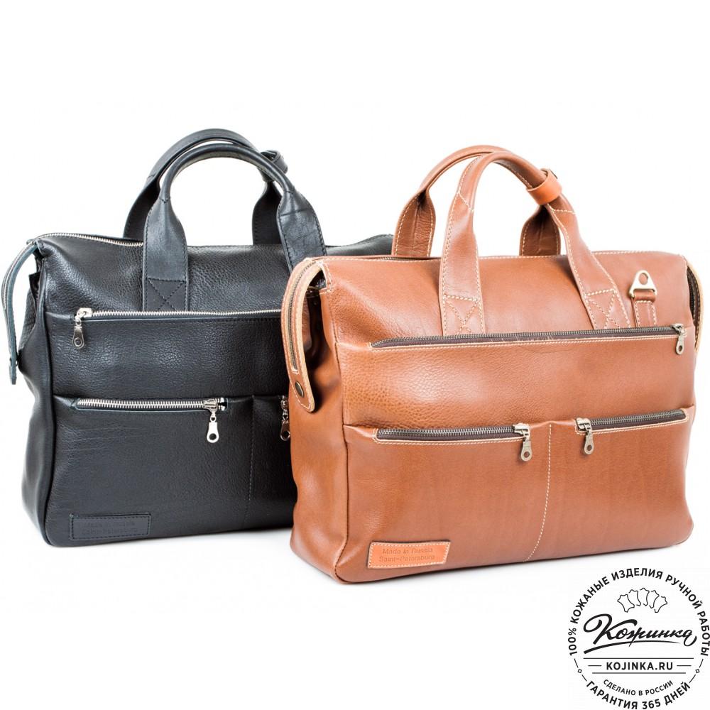 """Кожаная деловая сумка """"Марк"""" (черная)"""