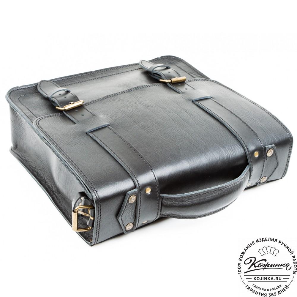"""Кожаный портфель """"Тесла"""" (черный)"""
