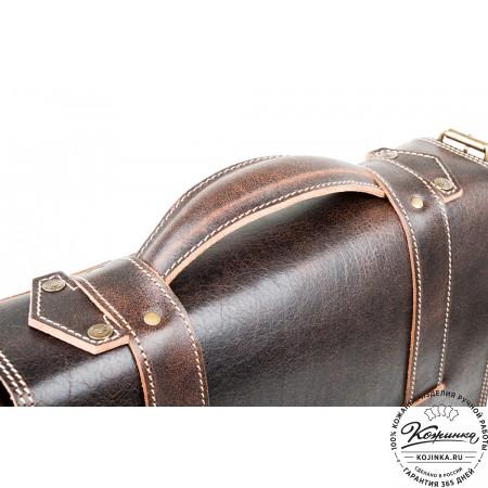 """Кожаный портфель """"Тесла"""" (коричневый эксклюзив)"""
