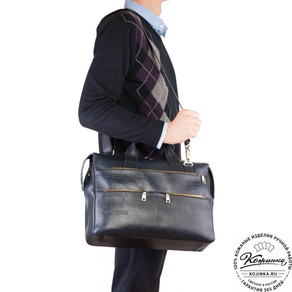 """Кожаная деловая сумка """"Марк"""" (черный эксклюзив)"""