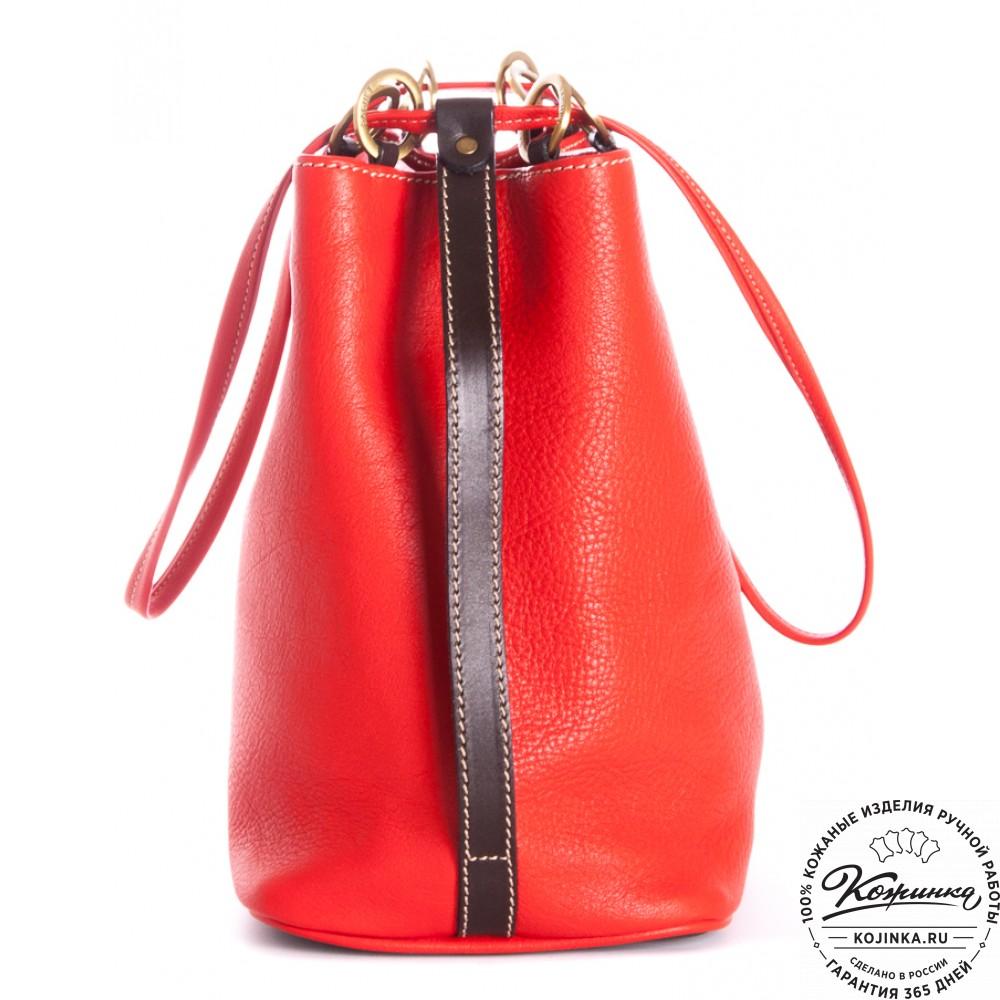 """Кожаная сумка """"Хлоя"""" (красная)"""
