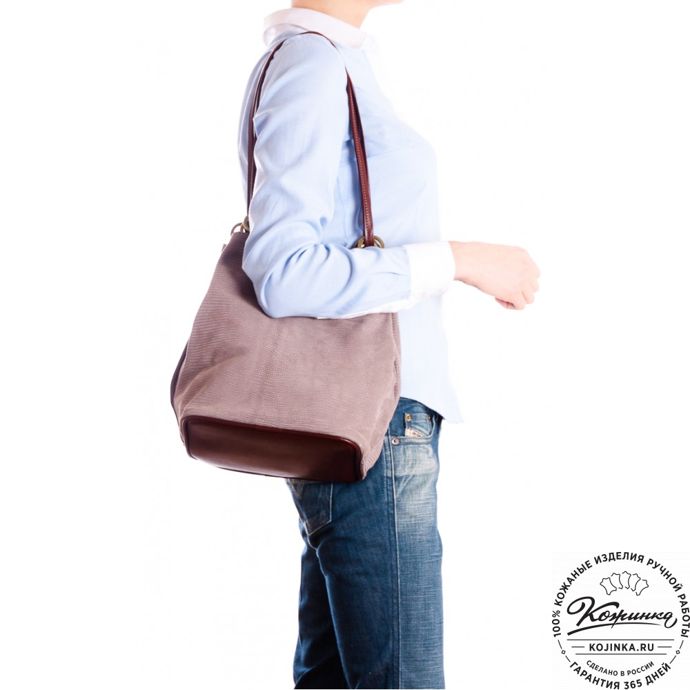 """Кожаная сумка """"Хлоя"""" (серая)"""