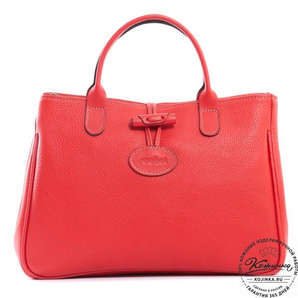 "Женская кожаная сумка ""Шампань"" (красная). фото 1"