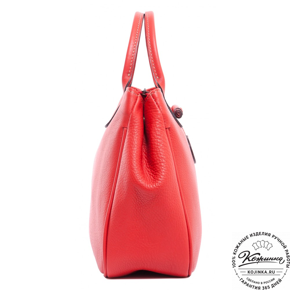 "Женская кожаная сумка ""Шампань"" (красная)"