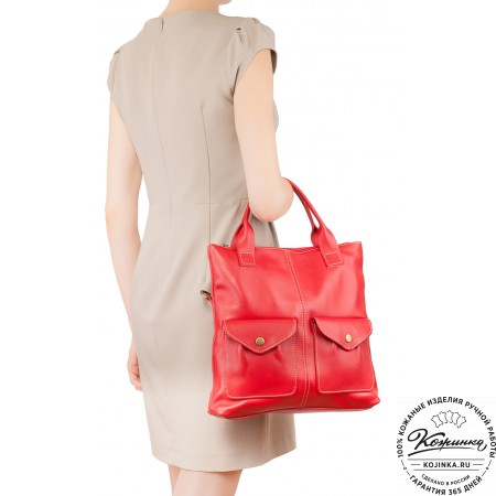 """Женская кожаная сумка """"Амели"""" (красная)"""